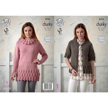 King Cole #4724 Tunic & Cardigan in Magnum Chunky