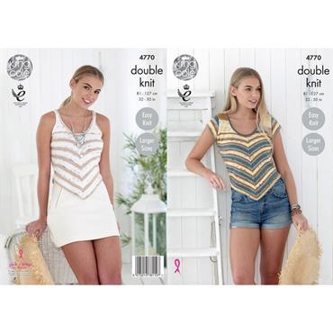 King Cole Pattern #4770 Sweater & Vest in Cottonsoft Crush DK