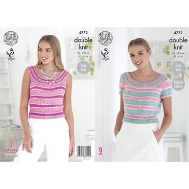King Cole Pattern #4772 Ladies Tops in Cottonsoft Crush DK