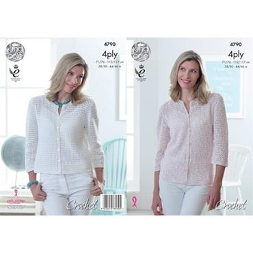 King Cole Crochet Pattern #4790 Lady's Cardigan in Giza Cotton Sorbet 4 Ply