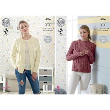 King Cole Pattern #4816 Sweater & Cardigan in Fashion Aran
