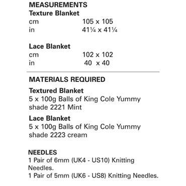 King Cole Pattern #4822 Blankets in Yummy
