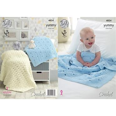 King Cole Pattern #4824 Crochet Blankets in Yummy