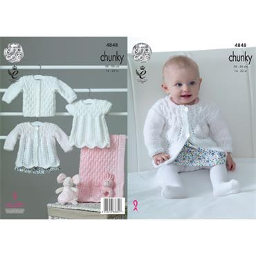 Pattern #4848 Matinee Coat, Angel Top, Cardigna & Blanket Knitted in Big Value Baby Chunky