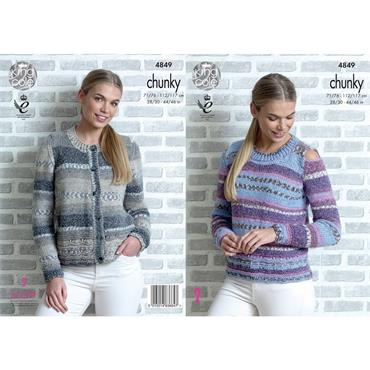 King Cole Pattern #4849 Sweater & Cardigan in Drifter Chunky