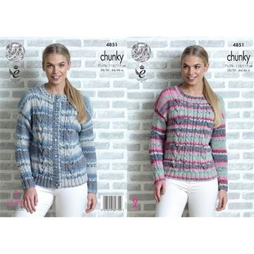 King Cole #4851 Sweater & Cardigan in Drifter Chunky