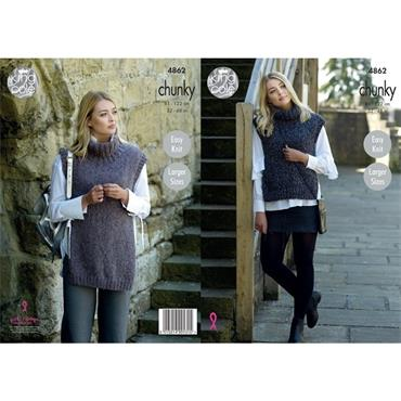 King Cole Pattern #4862 Tabards in Indulge Chunky