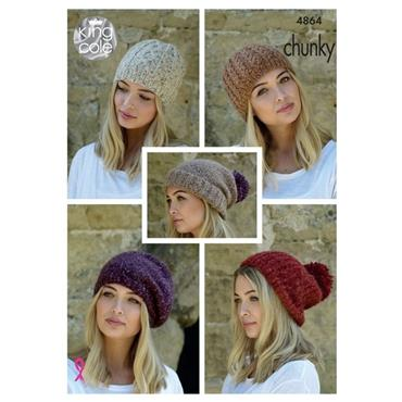 King Cole Pattern #4864 Hats in Indulge Chunky