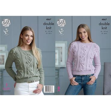 King Cole Pattern #4867 Ladies Sweaters in DK