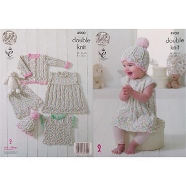 King Cole Pattern #4900 Baby Set in Cherish Dash DK
