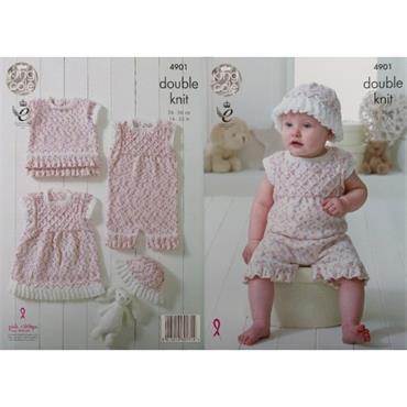 King Cole Pattern #4901 Baby Set in Cherish Dash DK