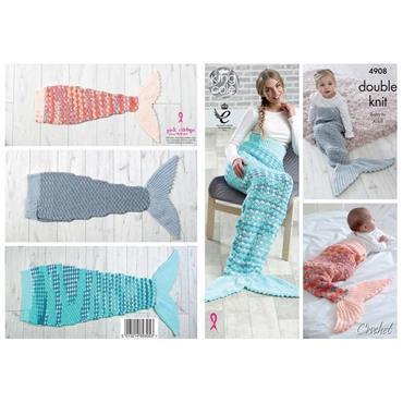 King Cole Pattern #4908 Crochet Mermaid Blankets in DK