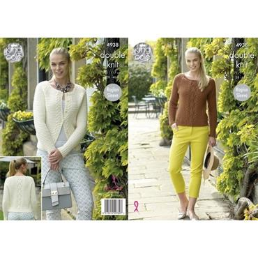 King Cole Pattern #4938 Sweater & Cardigan in Luxury Merino DK