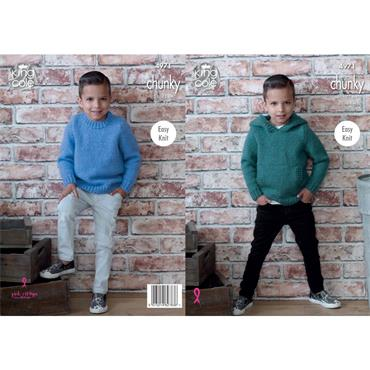 Pattern #4971 Hooded Sweater and Sweater Knitted in Comfort Chunky