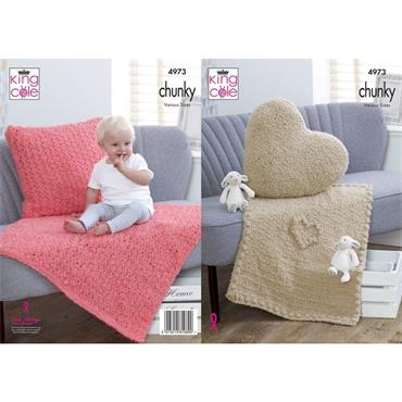 King Cole Pattern #4973 Blankets & Cushions in Cuddles Chunky