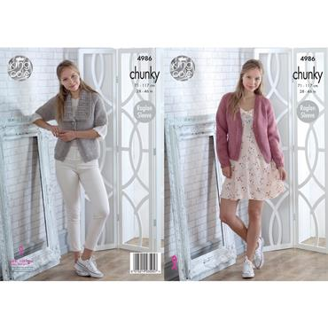 King Cole Pattern #4986 Cardigans Knitted in Big Value Chunky