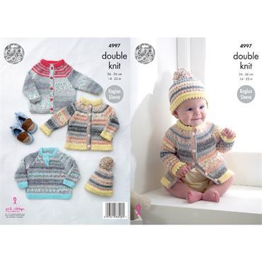 King Cole Pattern #4997 Cardigans Sweater & Hat in DK
