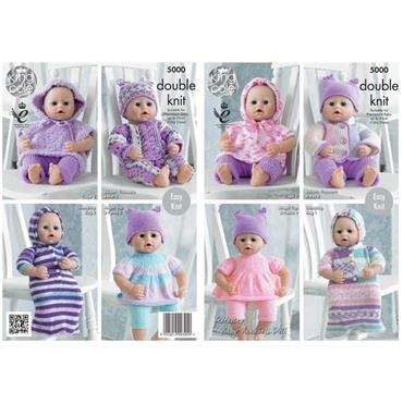 King Cole #5000 Dolls Clothes (Suitable for Premies) in DK & Chunky