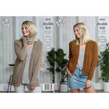 King Cole Pattern #5018 Ladies Cardigans DK    ***
