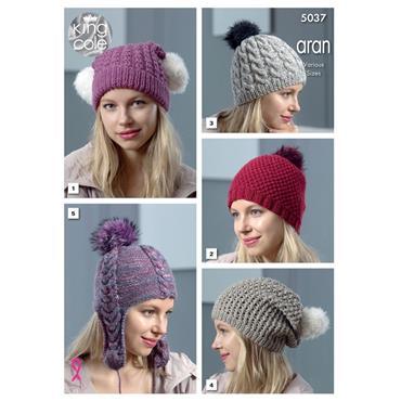 King Cole Pattern #5037 Aran Hats