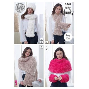 King Cole Pattern #5048 Scarves, Wrap, Should Cover, Hat & Wrist Warmers in Tufty