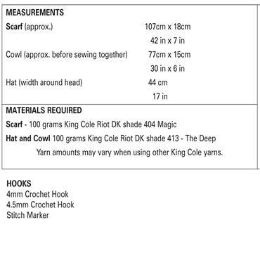 King Cole Pattern #5057 Beginner's Crochet Scarf, Hat, Cowl Set in Riot DK