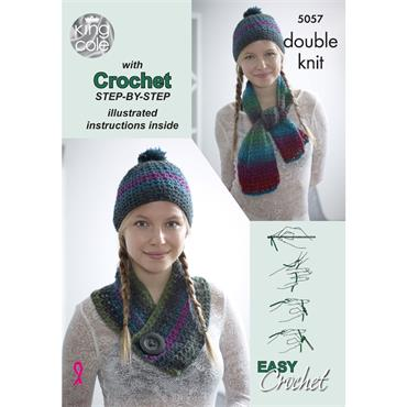 King Cole Pattern #5057 Beginner's Crochet Scarf, Hat, Cowl Set in Riot DK