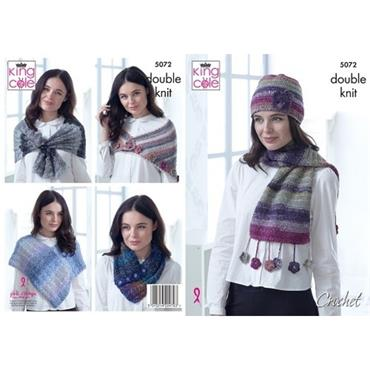 King Cole Pattern #5072 Poncho, Neck Warmer, Triangular Shawl, Lace Wrap & Hat Crocheted in DK