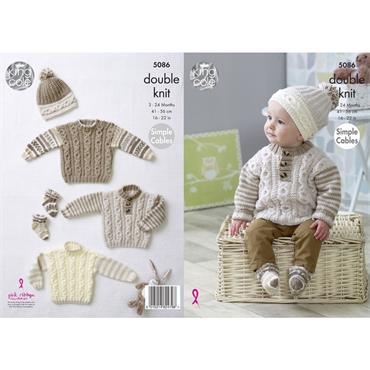 King Cole Pattern #5086 Sweaters, Hats & Socks Knitted in Cherish & Cherished DK