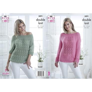 King Cole Pattern #5091 Sweater & Top in Bamboo DK
