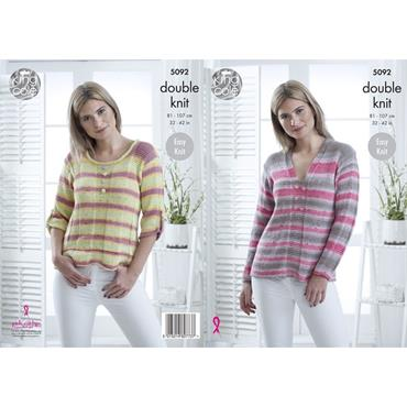 King Cole Pattern #5092 Sweaters in Cottonsoft Crush DK
