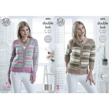 King Cole Pattern #5094 Cardigans in Cottonsoft Crush DK