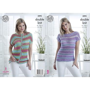 King Cole Pattern #5095 Cap Sleeved Top and Cardigan in Cottonsoft Crush DK