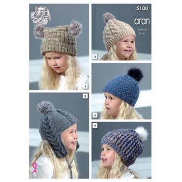 King Cole Pattern #5100 Kids Aran Hats   ***