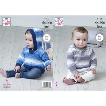 King Cole Pattern #5103 Sweaters in Cottonsoft Baby Crush DK  ***