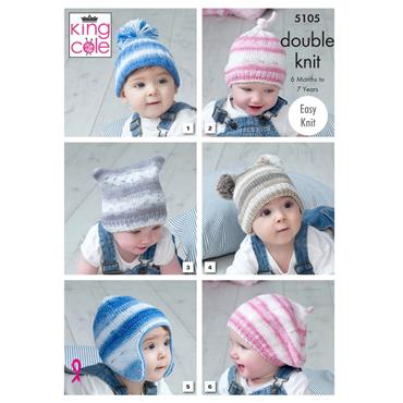 Pattern #5105 Hats Knitted in Cottonsoft Baby Crush DK