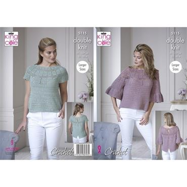 King Cole Crochet Pattern #5115 Bell Sleeve & Short Sleeve Tops in Finesse Cotton Silk