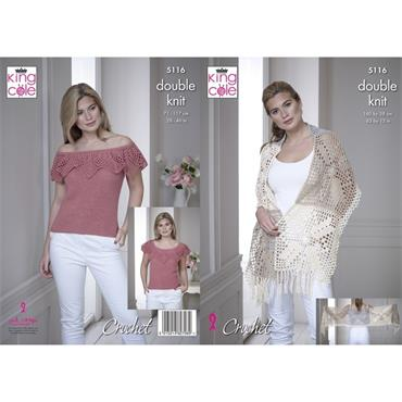 King Cole Pattern #5116 Crochet Wrap & Off the Shoulder Top