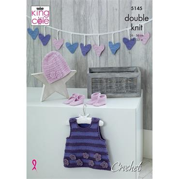 King Cole Crochet #5145 Pinafore, Bunting, Hat, Shoes & Bootees