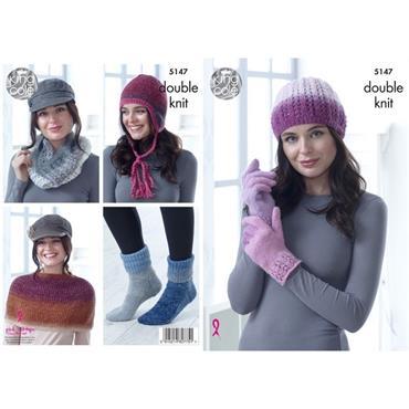 King Cole Pattern #5147 Hat, Cowl, Gloves, Shoulder Cover, Socks & Helmet Knitted in Curiosity DK