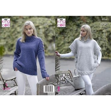 King Cole Pattern #5154 Poncho & Sweater in Fashion Aran