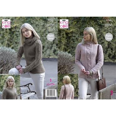 Pattern #5155 Sweaters Knitted in Fashion Aran