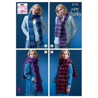 King Cole Pattern #5172 Scarves in Orbit Super Chunky