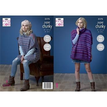 King Cole Pattern #5175 Ladies Ponchos in Orbit Super Chunky