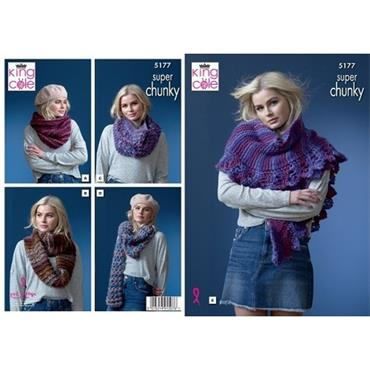 King Cole Pattern #5177 Snoods & Shawls in Orbit Super Chunky