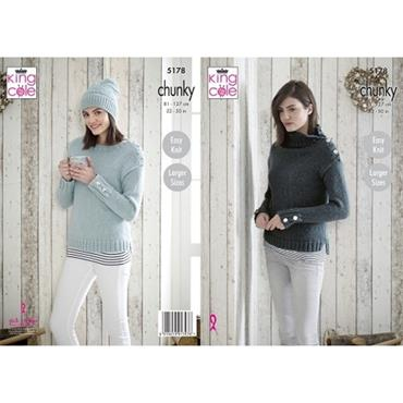 King Cole Pattern #5178 Sweaters & Hat in Timeless Chunky