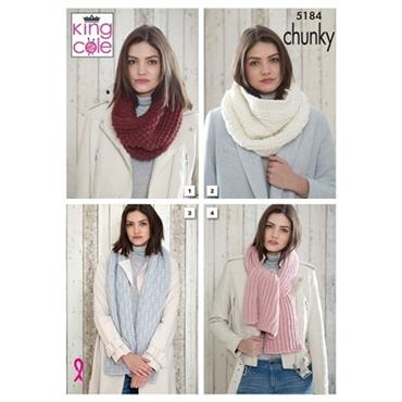 King Cole Pattern #5184 Snoods & Scarves in Timeless Chunky