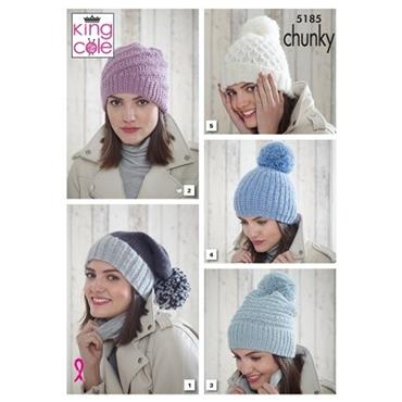 King Cole Pattern #5185 Hats in Timeless Chunky