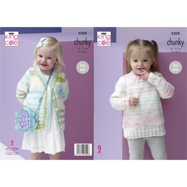 King Cole Pattern #5208 Sweater & Cardigan in Comfort Cheeky Chunky