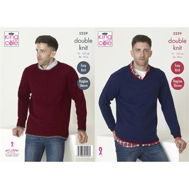 King Cole Pattern #5259 Mens Sweaters in Big Value DK 50g